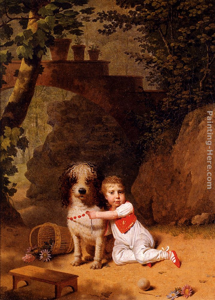 Portrait Of A Little Boy Placing A Coral Necklace On A Dog, Both Seated In A Parkland Setting painting - Martin Drolling Portrait Of A Little Boy Placing A Coral Necklace On A Dog, Both Seated In A Parkland Setting art painting
