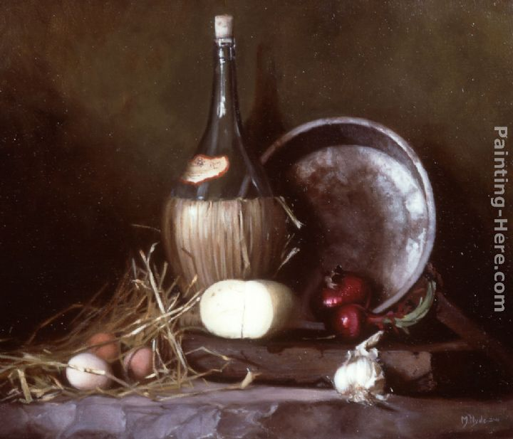 Maureen hyde still life with wine flask eggs and cheese painting