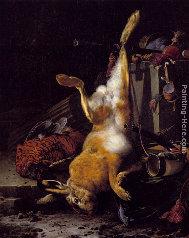 Melchior de Hondecoeter A Still Life Of Dead Game And Hunting Equipment Art Painting
