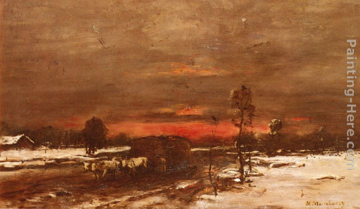 A Winter Landscape at Sunset painting - Mihaly Munkacsy A Winter Landscape at Sunset art painting