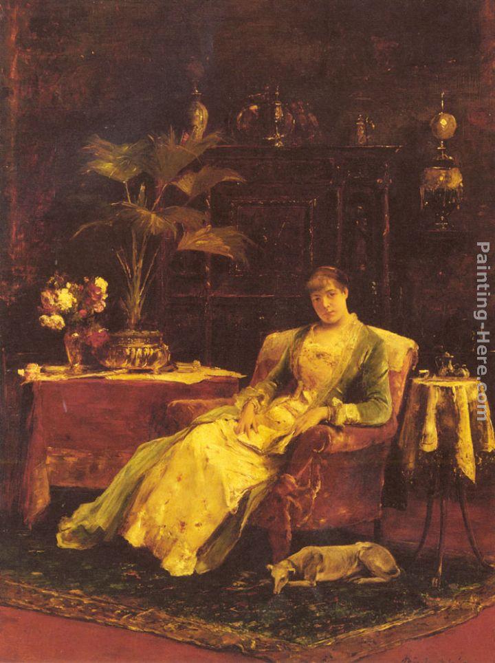 A lady seated in an Elegant Interior