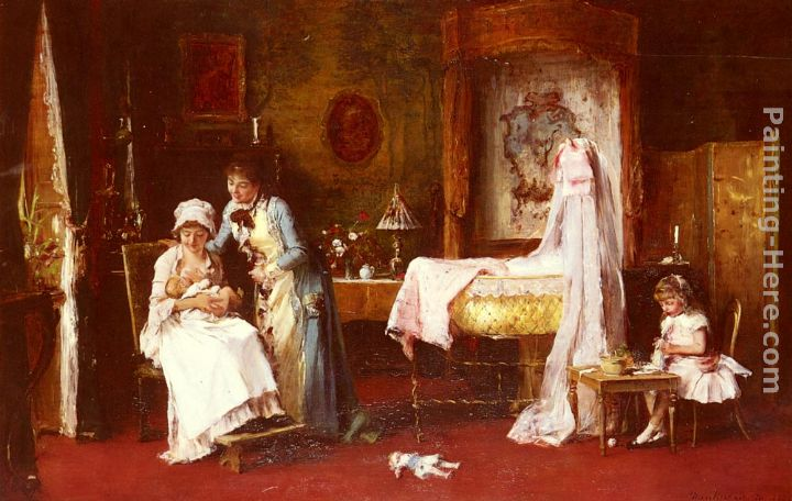 Maternal Happiness painting - Mihaly Munkacsy Maternal Happiness art painting
