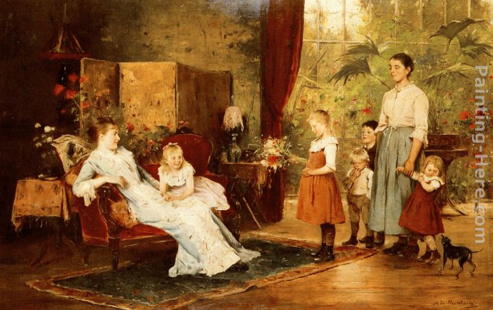 The Fete Of The Lady Of The Manor painting - Mihaly Munkacsy The Fete Of The Lady Of The Manor art painting