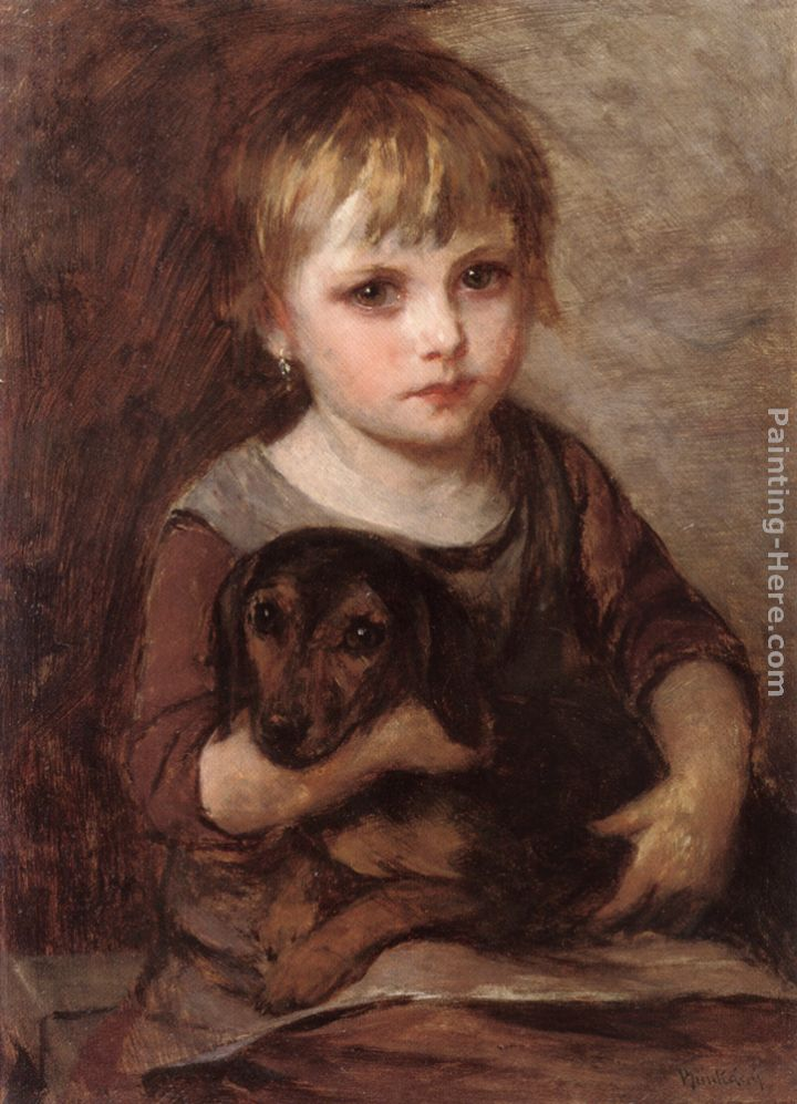 Young Girld and her Dachshund painting - Mihaly Munkacsy Young Girld and her Dachshund art painting