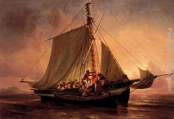 Arab Pirate Attack painting - Niels Simonsen Arab Pirate Attack art painting