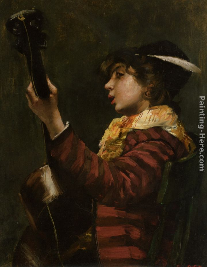 Guitarist Painting Norbert Goeneutte The ...