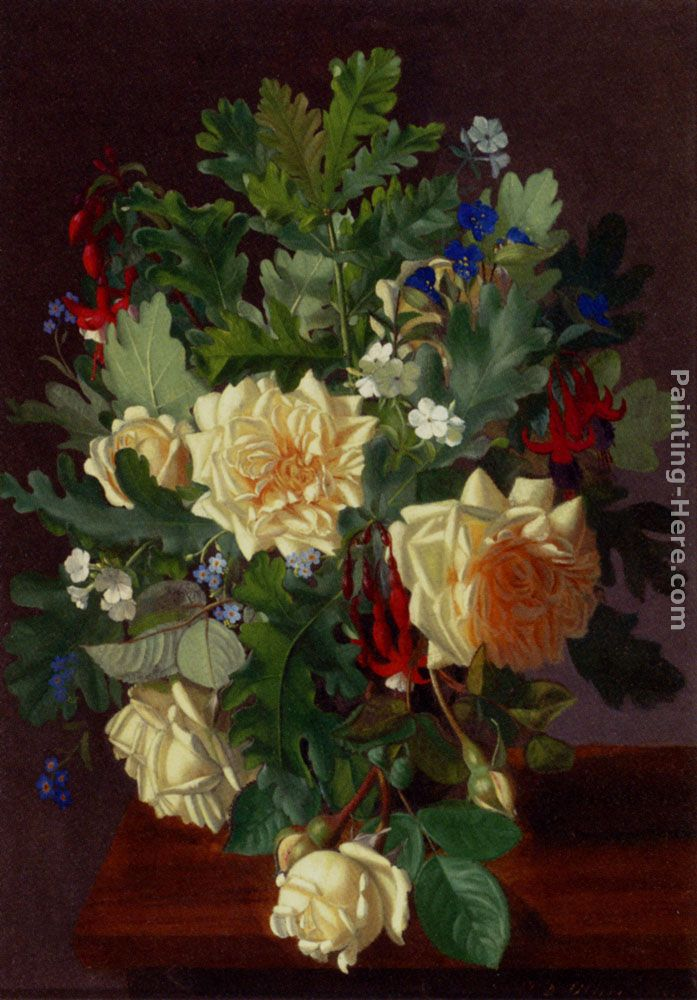 Otto Didrik Ottesen A Still Life With Yellow Roses And Freesia Art Painting