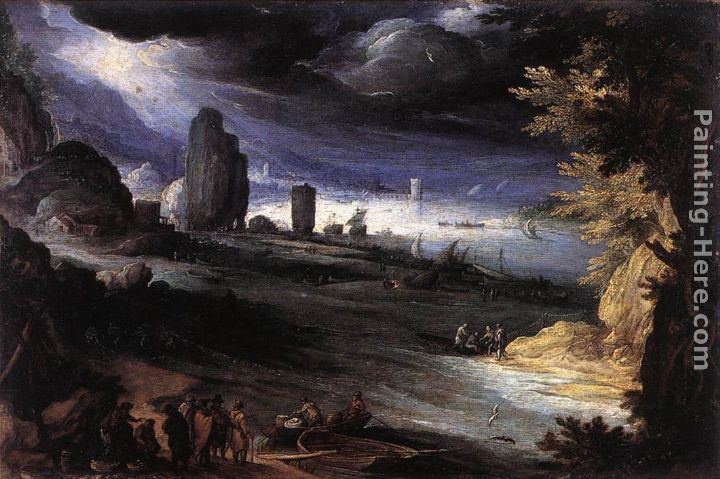 Coastal Landscape painting - Paul Bril Coastal Landscape art painting