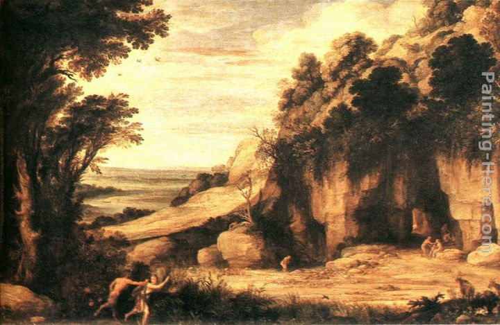 Pan and Syrinx painting - Paul Bril Pan and Syrinx art painting