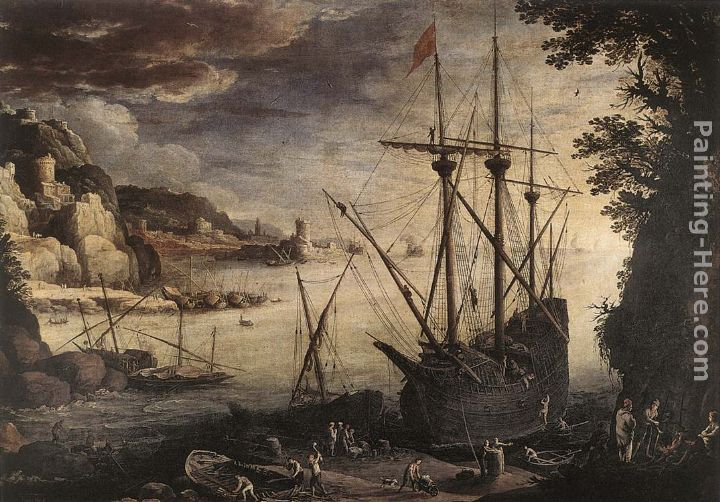 The Port painting - Paul Bril The Port art painting