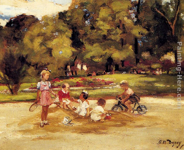 Michel dupuy paul michel dupuy children playing in a park painting