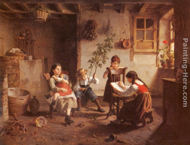 Paul Seignac The Reading Lesson Art Painting