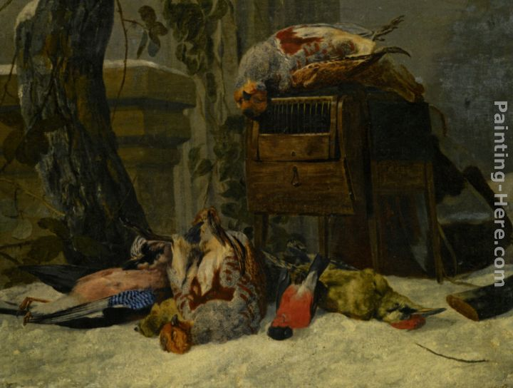 Still Life with Dead Game and Songbirds in the Snow painting - Peeter Boel Still Life with Dead Game and Songbirds in the Snow art painting