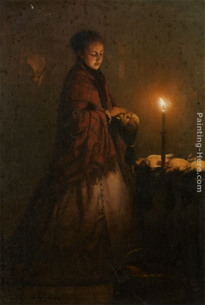 Petrus Van Schendel Selling game at the Groenmarkt in the Hague Art Painting