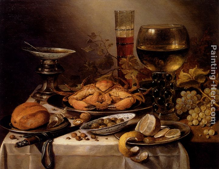 Charming Banquet Still Life With A Crab On A Silver Platter, A Bunch Of Grapes,