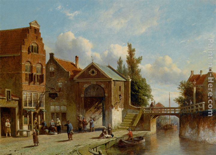 Pieter Gerard Vertin Figures In The Quay Of A Dutch Town