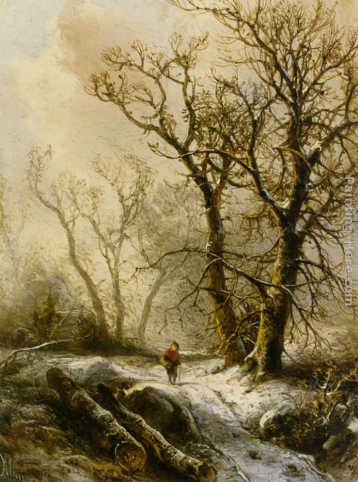 A Figure in a Snowy Forest Landscape