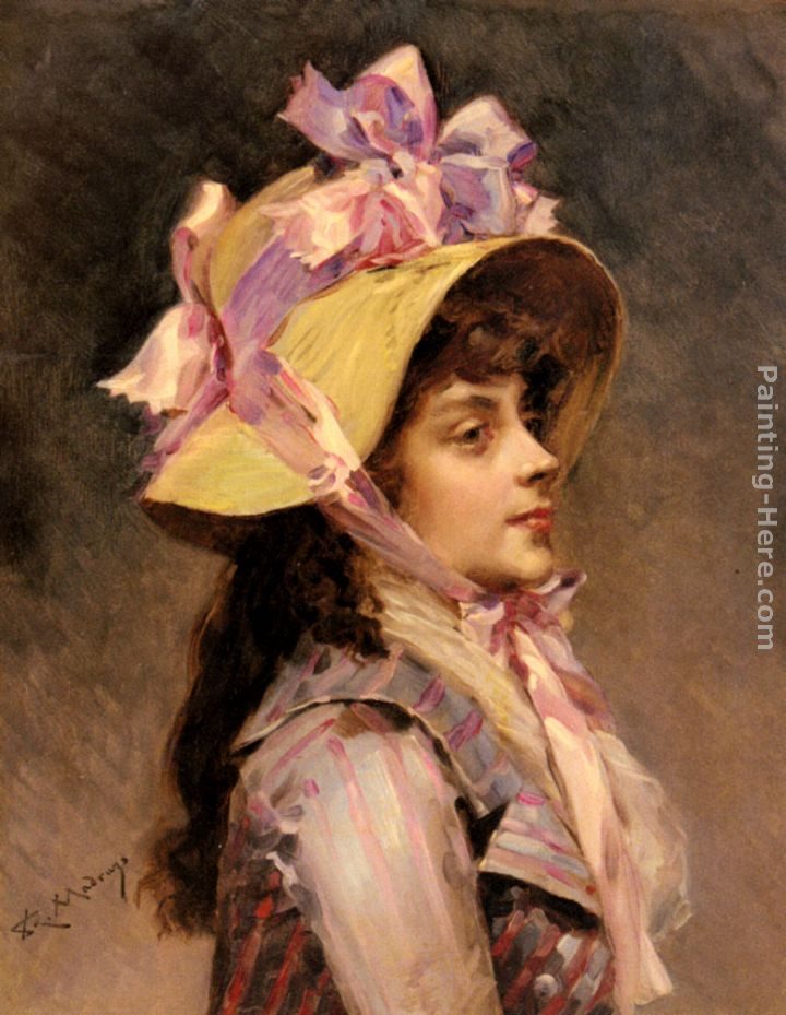 Raimundo de Madrazo y Garreta Portrait Of A Lady In Pink Ribbons Art Painting