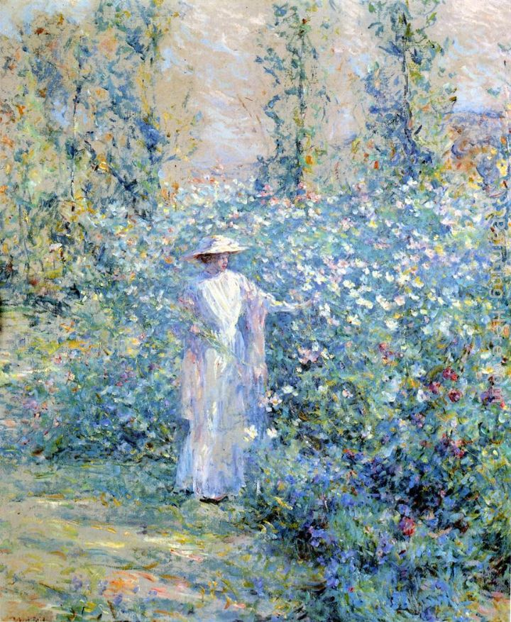 in the flower garden painting robert reid in the flower garden art painting - Flower Garden Paintings