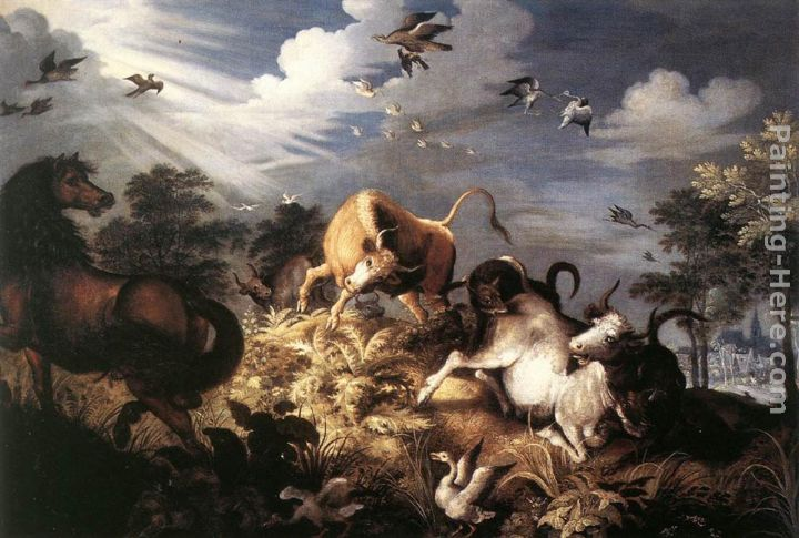 Roelandt Jacobsz Savery Horses and Oxen Attacked by Wolves Art Painting