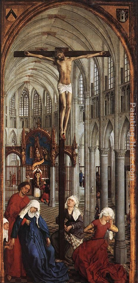 Seven Sacraments Altarpiece central panel painting - Rogier van der Weyden Seven Sacraments Altarpiece central panel art painting