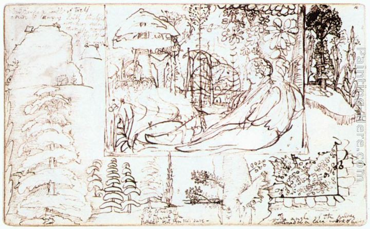 Sketchbook, folio 5 verso painting - Samuel Palmer Sketchbook, folio 5 verso art painting