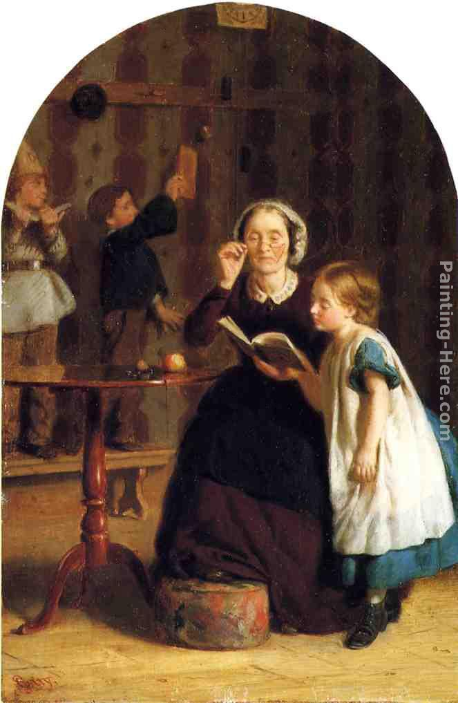 The Reading Lesson painting - Seymour Joseph Guy The Reading Lesson art painting