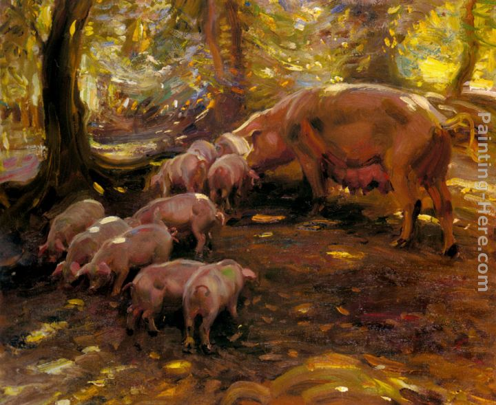 sir alfred james munnings pigs in a wood cornwall painting anysize