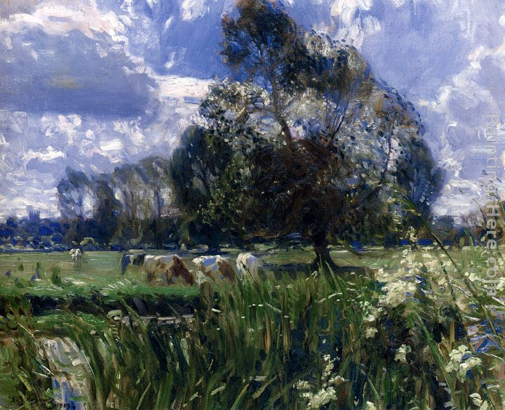 Summer Afternoon On The Wensum, Costessey painting - Sir Alfred James Munnings Summer Afternoon On The Wensum, Costessey art painting