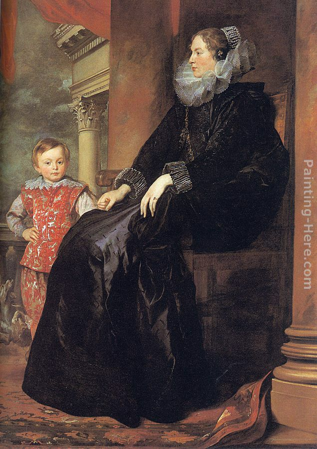 Genoese Noblewoman with her Son painting - Sir Antony van Dyck Genoese Noblewoman with her Son art painting