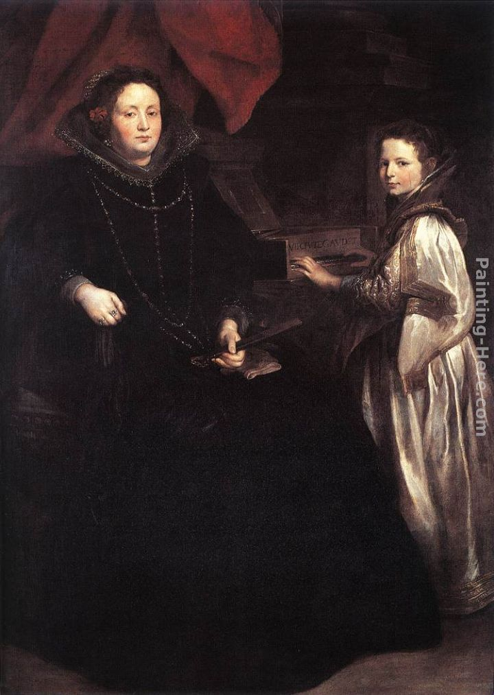 Portrait of Porzia Imperiale and Her Daughter painting - Sir Antony van Dyck Portrait of Porzia Imperiale and Her Daughter art painting