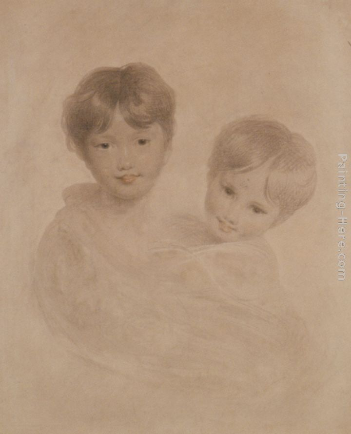 Sir Thomas Lawrence Portrait Sketch of Two Boys - Possibly George 3rd Marquees Townshend and his Younger Brother Charles Art Painting