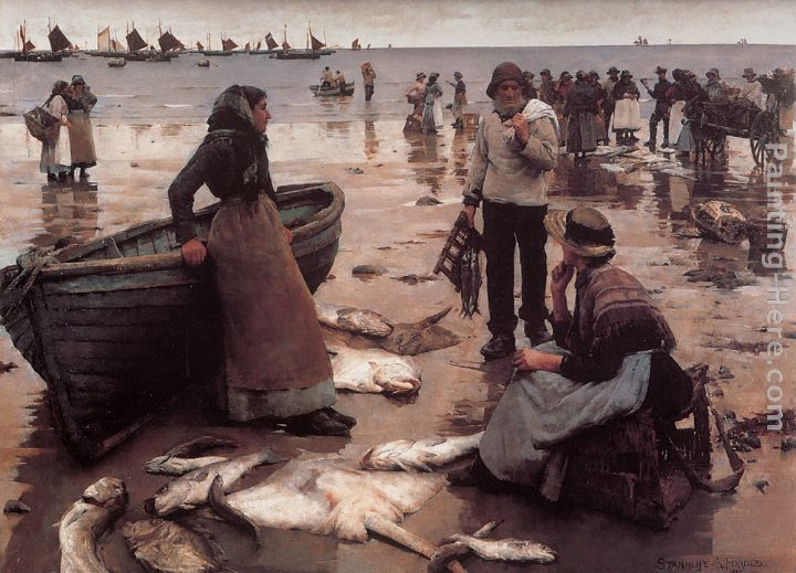 A Fish Sale on a Cornish Beach painting - Stanhope Alexander Forbes A Fish Sale on a Cornish Beach art painting