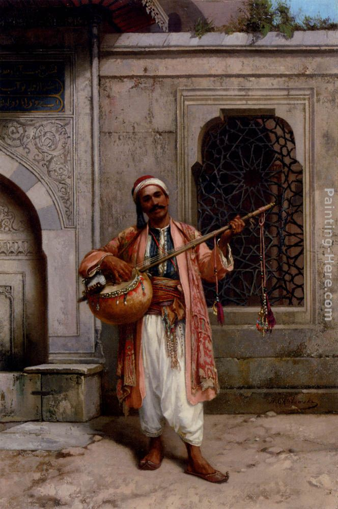 A Musician Playing Before A Mosque In Constantinople painting - Stanislaus von Chlebowski A Musician Playing Before A Mosque In Constantinople art painting