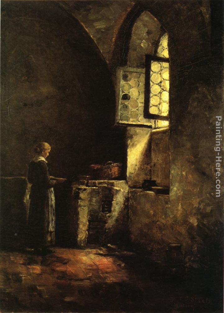 A Corner in the Old Kitchen of the Mittenheim Cloister painting - Theodore Clement Steele A Corner in the Old Kitchen of the Mittenheim Cloister art painting