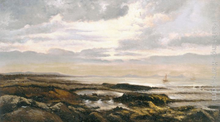 Theodore Rousseau Seascape with a boat on the horizon Art Painting