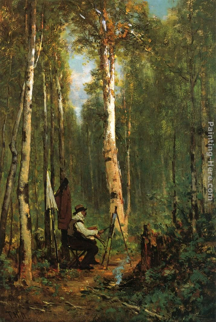 Thomas Hill Artist at His Easel in the Woods Art Painting