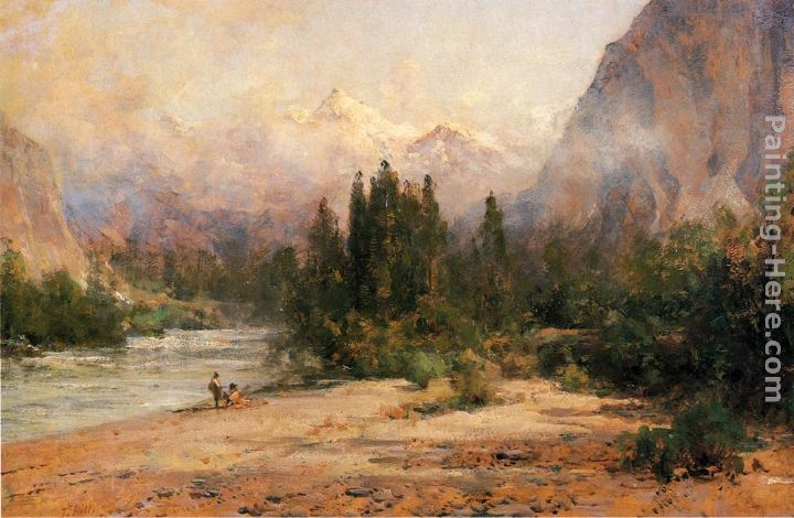 Thomas Hill Bow River Gap at Banff, on Canadian Pacific Railroad Art Painting