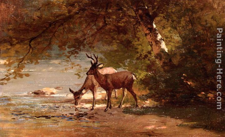 Deer in a Landscape painting - Thomas Hill Deer in a Landscape art painting