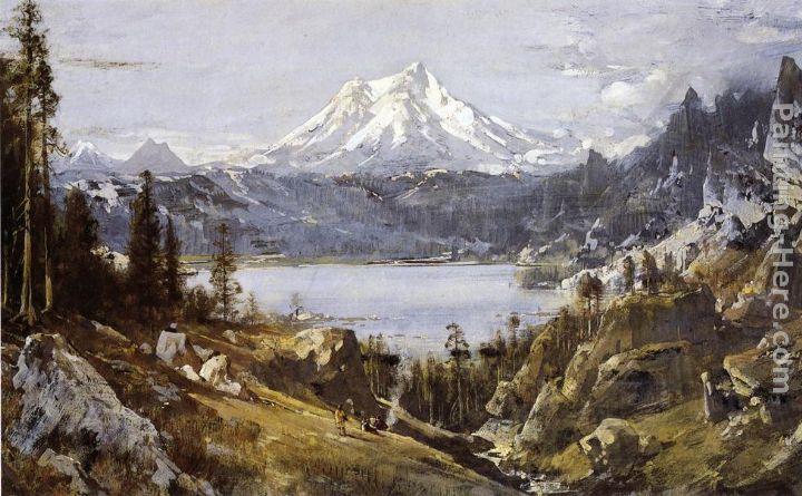Thomas Hill Mount Shasta from Castle Lake Art Painting
