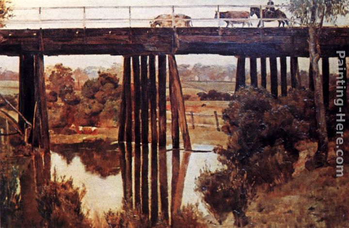Winter Morning after Rain, The Old Bridge, Gardiner's Creek painting - Tom Roberts Winter Morning after Rain, The Old Bridge, Gardiner's Creek art painting