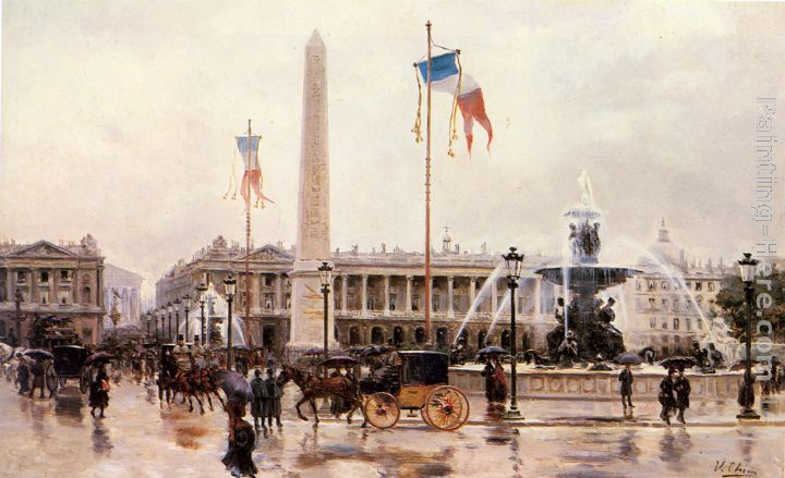 A View of the Place de la Concorde painting - Ulpiano Checa y Sanz A View of the Place de la Concorde art painting