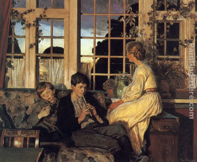 A Mother and Children by a Window at Dusk painting - Viggo Christian Frederick Pedersen A Mother and Children by a Window at Dusk art painting