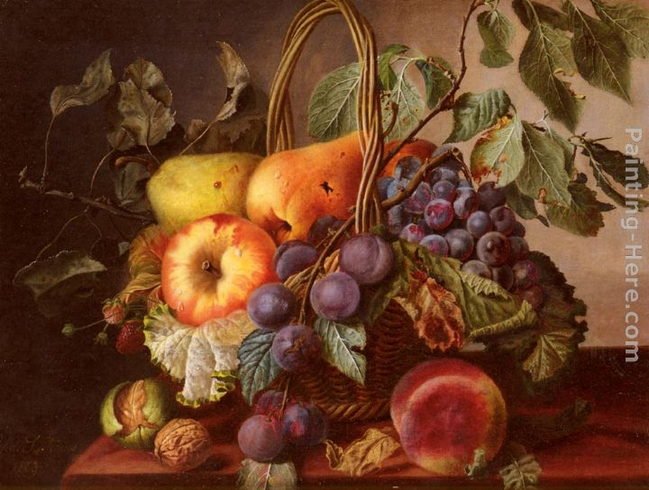 A Still Life With A Basket Of Fruit painting - Virginie de Sartorius A Still Life With A Basket Of Fruit art painting