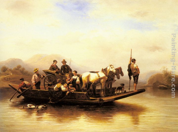 The Ferry Crossing painting - Wilhelm Alexander Meyerheim The Ferry Crossing art painting