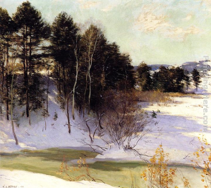 Thawing Brook painting - Willard Leroy Metcalf Thawing Brook art painting