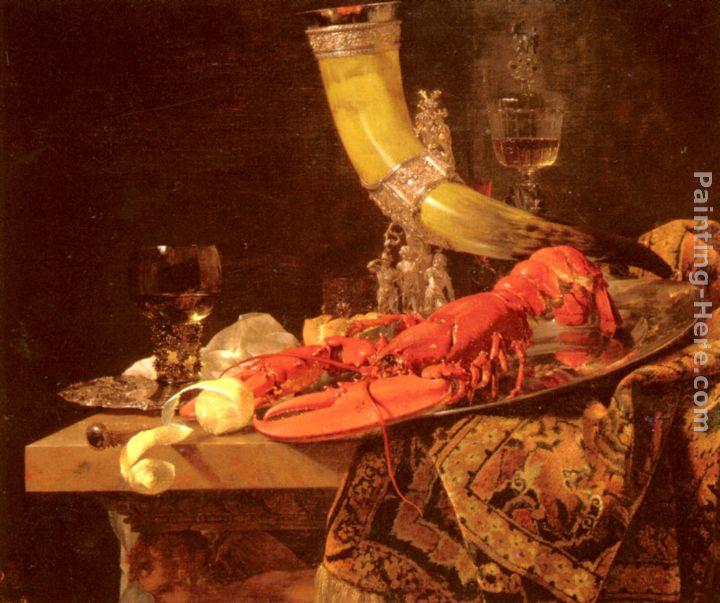 STILL LIFE DRINKING HORN ST SEBASTIEN ARCHERS GUILD LOBSTER BY WILLEM KALF REPRO