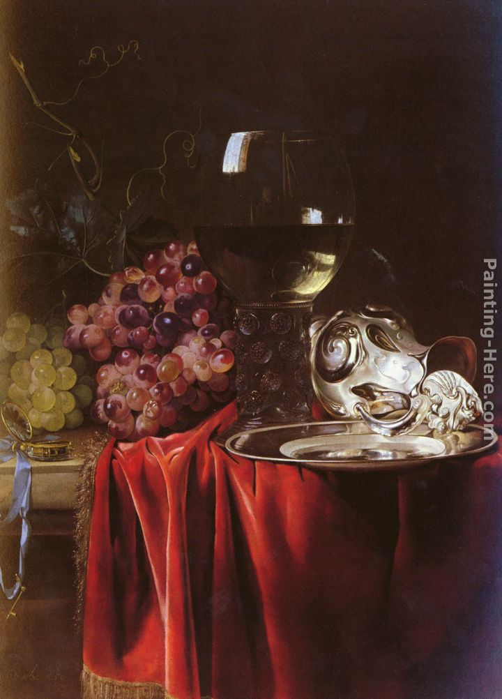 A Still Life of Grapes, a Roemer, a Silver Ewer and a Plate painting - Willem van Aelst A Still Life of Grapes, a Roemer, a Silver Ewer and a Plate art painting