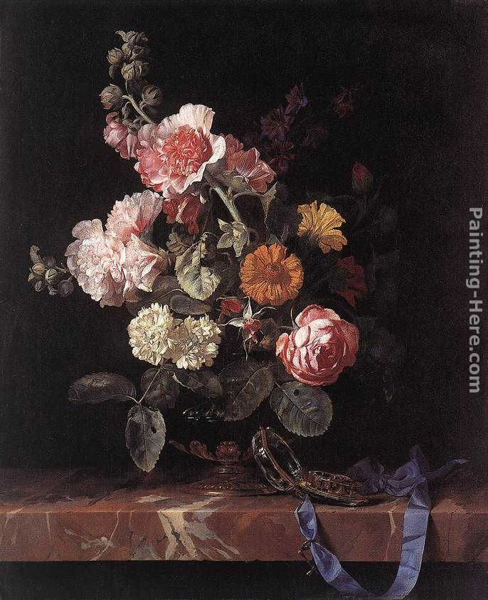 Vase of Flowers with Watch painting - Willem van Aelst Vase of Flowers with Watch art painting