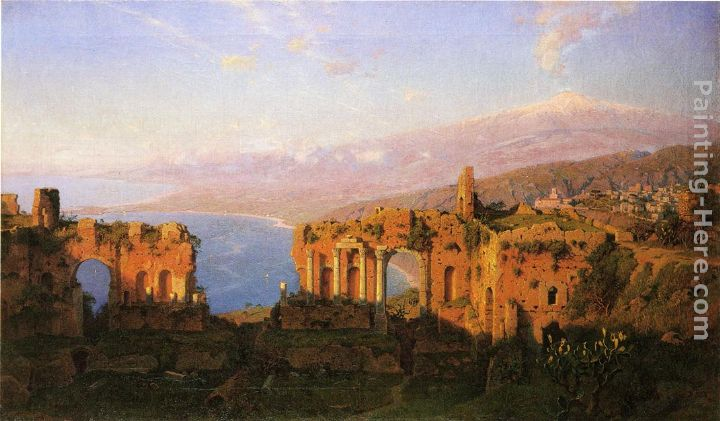Ruins of the Roman Theatre at Taormina, Sicily painting - William Stanley Haseltine Ruins of the Roman Theatre at Taormina, Sicily art painting